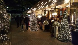 The centre of Katerini city decorated from Christmas Holidays at night stock image