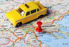 Katerini, taxi del mapa de Grecia Fotografía de archivo
