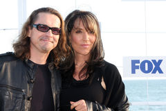 Katey Sagal, Kurt Sutter. LOS ANGELES - AUG 5:  Kurt Sutter, Katey Sagal arriving at the FOX TCA Summer 2011 Party at Gladstones on August 5, 2011 in Santa Royalty Free Stock Photography