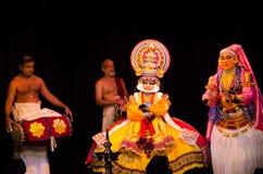 Kathakali,古典南印地安舞蹈戏曲 免版税图库摄影