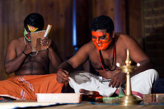 Kathakali actors does make-up in Fort Cochin, India Stock Image