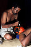 Kathakali actors does make-up before performance in Fort Cochin, Stock Images