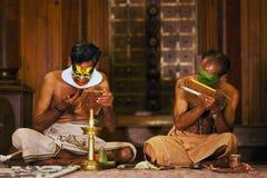 Kathakali actors make-up stock photos