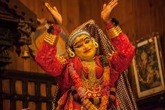 Kathakali aktör i den dygdiga pachchagräsplanrollen i Cochin Fotografering för Bildbyråer