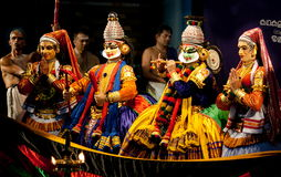 Kathakali artists  in mask performing Royalty Free Stock Image