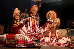 Kathakali artists perform on stage. During a temple festival on November 06, 2010 in Thiruvalla, Kerala, India. Kathakali is the traditional classical dance of Royalty Free Stock Photos