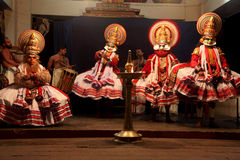 Kathakali artists perform on stage Stock Photography
