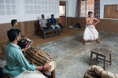 Kathakali classical Indian dance lesson in art collage in India. Ernakulam, India - January 19, 2016: Kathakali `story play` genre of art lesson in art collage stock photography