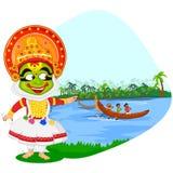 Kathakali dancer doing boat race of Kerala for Stock Photo
