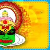 Kathakali Dancer Face for Happy Onam celebration. Royalty Free Stock Photos