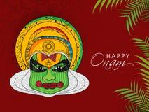 Kathakali dancer face for Happy Onam. Stock Images