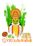 Kathakali dancer face with message Happy Onam Stock Photos