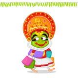 Kathakali dancer offering shopping sale for Onam Royalty Free Stock Photos