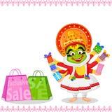 Kathakali dancer offering shopping sale for Onam Royalty Free Stock Image
