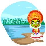 Kathakali dancer wishing Happy Onam Stock Photo