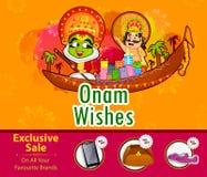 Kathakali dansare och erbjudande shoppingförsäljning för konung Mahabali för den Onam festivalen av Kerala royaltyfri illustrationer
