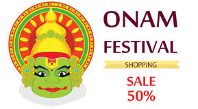 Kathakali face with heavy crown for festival of Onam celebration Royalty Free Stock Photos