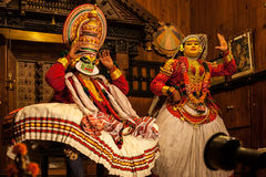 Kathakali performer applying face make-up Stock Photos