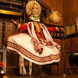 Kathakali performer applying face make-up Royalty Free Stock Images