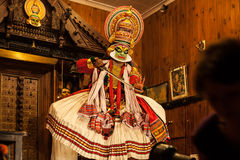 Kathakali performer in the virtuous pachcha green role in Cochin Stock Photo