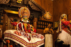 Kathakali performer in the virtuous pachcha green role in Cochin Stock Photography