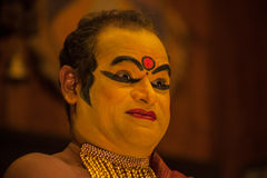 Kathakali performer in the virtuous pachcha green role in Cochin Royalty Free Stock Image