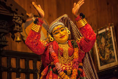 Kathakali performer in the virtuous pachcha green role in Cochin Stock Image