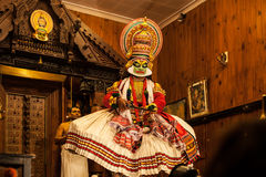 Kathakali performer in the virtuous pachcha green role in Cochin Royalty Free Stock Photos