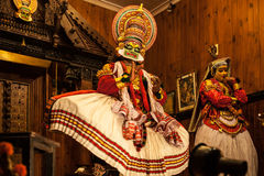 Kathakali performer in the virtuous pachcha green role in Cochin Stock Images