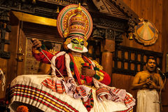 Kathakali performer in the virtuous pachcha green role Royalty Free Stock Images