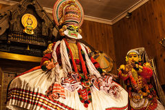 Kathakali performer in the virtuous pachcha green role Stock Photos