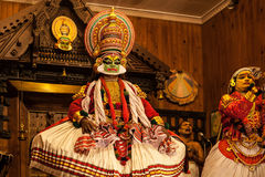 Kathakali performer in the virtuous pachcha green role Stock Image