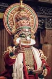 Kathakali performer in the virtuous pachcha role Royalty Free Stock Images