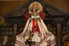 Kathakali skådespelare i Kerala, Indien Royaltyfri Foto