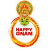 Kathakali-Tänzer auf Hintergrund für glückliches Onam-Festival von Süd-Indien Kerala lizenzfreie abbildung