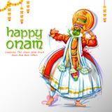 Kathakali tancerz na reklamie i promoci tło dla Szczęśliwego Onam festiwalu Południowy India Kerala ilustracja wektor