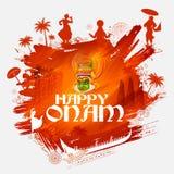 Kathakali tancerz na tle dla Szczęśliwego Onam festiwalu Południowy India Kerala ilustracji