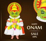 Kathakali tancerz Szczęśliwy Onam festiwal ilustracji