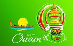 Kathakali tancerza twarz i łódkowaty ścigać się dla Onam świętowania ilustracja wektor
