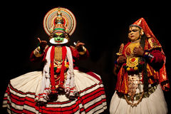 Kathakalidans in Kerala, Zuid-India Stock Afbeelding