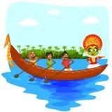 Kathakalidanser die bootrace van Kerala doen voor royalty-vrije illustratie