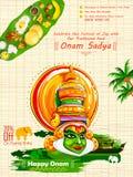 Kathakalidanser op achtergrond voor Gelukkig Onam-festival van Zuid-India Kerala vector illustratie