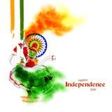 Kathakalidanser op Indische tricolorachtergrond voor 15de August Happy Independence Day van India royalty-vrije illustratie