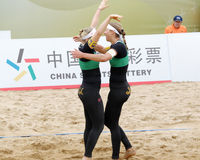 Katharina and schwaiger win the game and embrace each other Stock Image