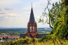 The Katharinenkirche in Oppenheim. In Rheinhessen stock photos