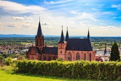 The gothic Katharinenkirche in Oppenheim in Rheinhessen. The Katharinenkirche St. Catherine`s church in Oppenheim, Germany, is regarded as an important Gothic royalty free stock images