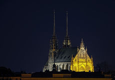 Kathedraal bij nacht Stock Afbeelding