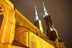 Kathedraal bij nacht, Wroclaw, Polen Stock Afbeelding