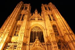 Kathedraal in Brussel (België) bij nacht Stock Afbeelding