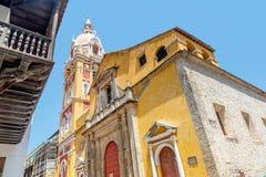 Kathedraal in de oude stad Cartagena, Colombia Stock Foto's